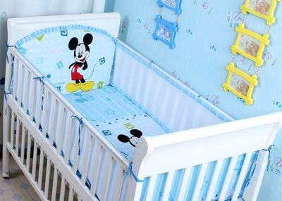 36.90$  Buy here  - Promotion! 5PCS Mesh Mickey Mouse Baby Cotton bedding set crib bed set flat sheet Bed Set,include(4bumpers+sheet)