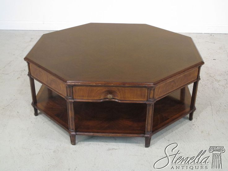 24510: JONATHAN CHARLES Large Octagonal Mahogany Coffee Table Part 43