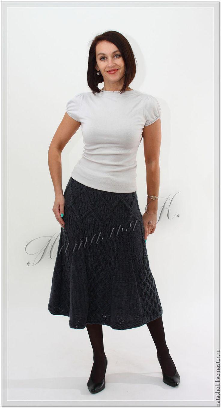 Купить Юбка - серый, юбка, юбка длинная, юбка вязаная, юбка спицами, вязание на заказ