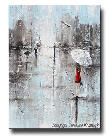 """GICLEE PRINT #Art Abstract Painting Girl Red Umbrella   """"The Woman in Red"""" Large Painting PRINT CANVAS PRINT of Original Abstract Painting girl in red w/ white umbrella walking in the city rain - cityscape wall art home decor modern palette knife paintings. Full of reflective light, the soft pale blue, grey and white tones are contrasted by the striking woman in a red dress with a white umbrella. SOLD painting original piece of art created by internationally collected artist, Christine…"""