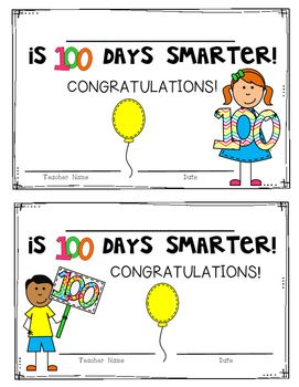 FREEBIE! 100th Day of School Certificates/Awards