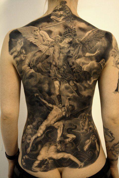 battle of angels black & gray backpiece