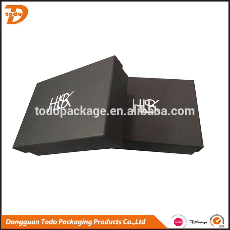 Two pieces matte black gift box with white logo