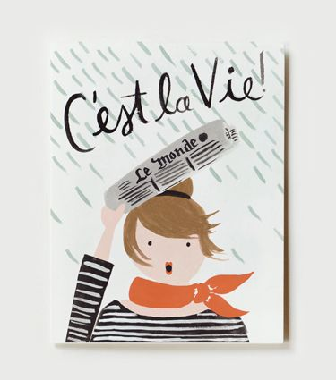 Rifle Paper Co - C'est la vie when it rains on a good hair day! This 1960's inspired french card is the perfect way to remind someone that sometimes a newspaper umbrella is the perfect solution.