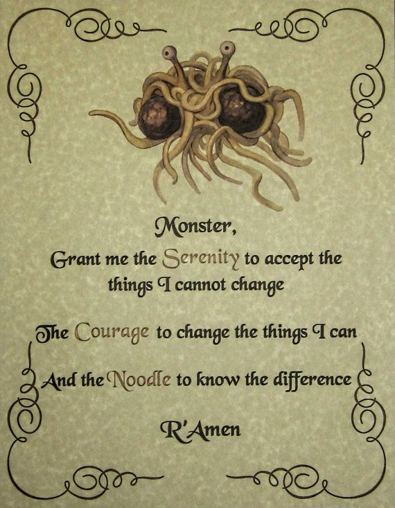 FSM Serenity Prayer Poster Pastafarian Flying by DocDesigners