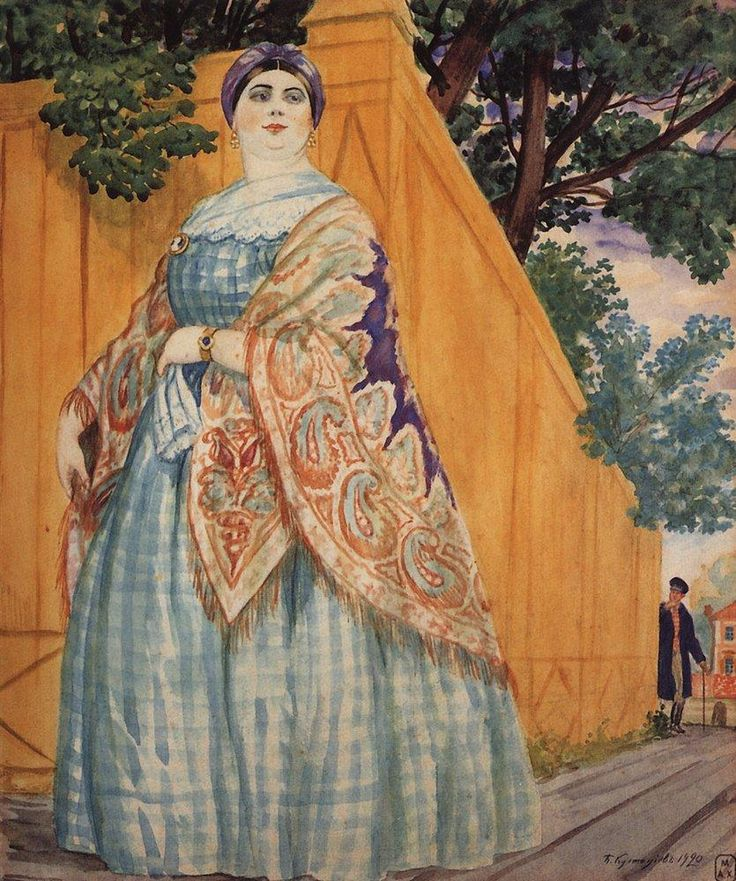 "Boris Kustodiev (Russia, 1878 – 1927)  ""Merchant's Wife on the Promenade"", 1920"