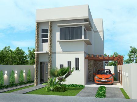 Projetar Casas | Projeto de sobrado moderno contendo varanda gourmet e mezanino - Cód 50