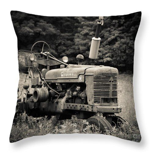 Farm Throw Pillow featuring the photograph Old Tractor Black And White Square by Edward Fielding
