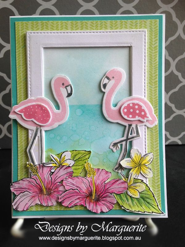 CTMH Seasonal Expressions 2 Preview - Card featuring B1527 Hawaiian Hibiscus Stamp Set and C1651 Tickled Pink Stamp Set and Z3228 Tickled Pink Thin Cuts.