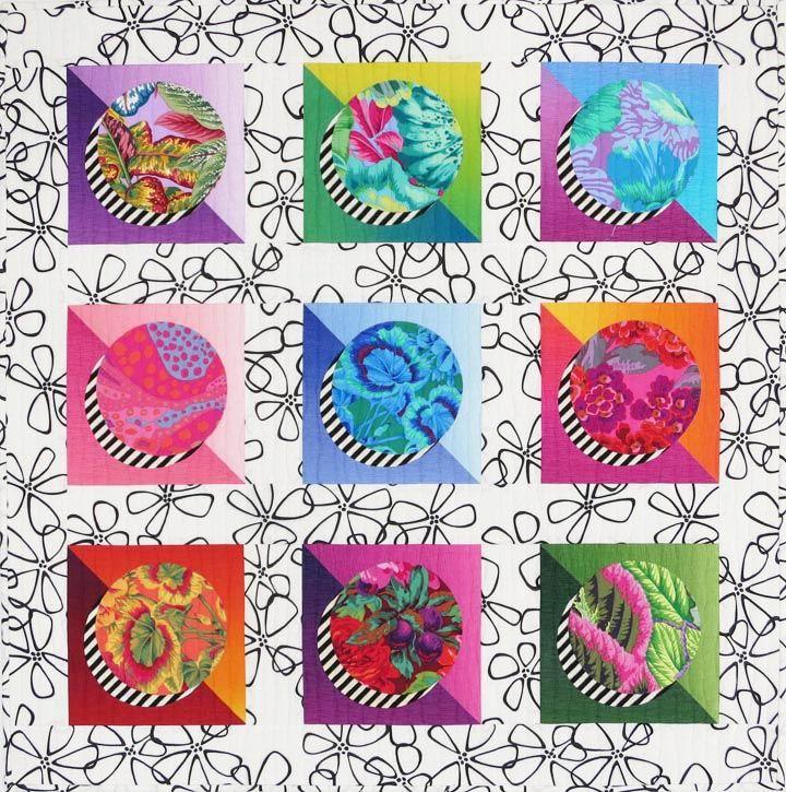 Sassy Circles II quilt by Christine Barnes, featuring Kaffe Fassett fabrics
