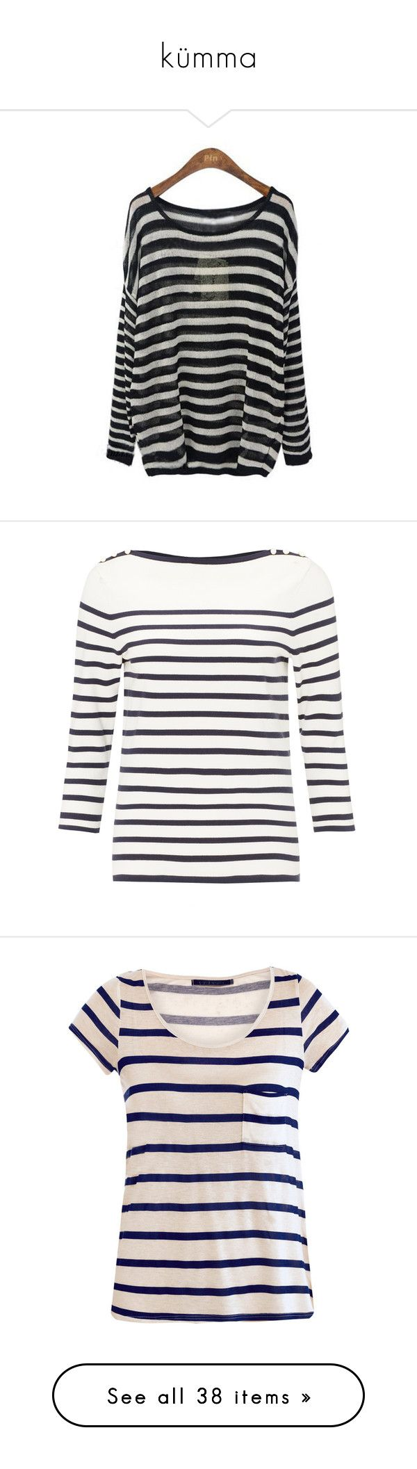 """kümma"" by merilin737 ❤ liked on Polyvore featuring tops, sweaters, shirts, black and white striped sweater, black and white striped top, striped shirt, black and white sweater, black and white shirt, blusas and haut"