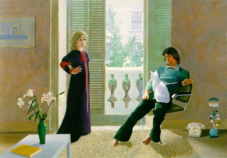 David Hockney - Mr and Mrs Clark and Percy 1970. I love the cat in this composition. Admired by Mari in Suffolk. Defines the 60's in Britain. Great fashion!