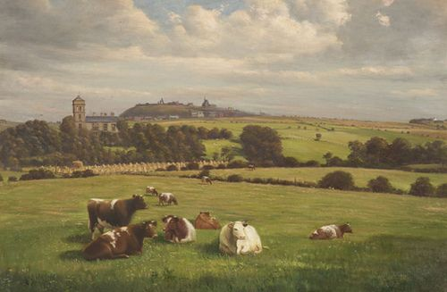 Oil painting of Boston Grange - Oil painting of Boston Grange, later Runcorn Town Hall, with a view across farmland. Painted by H. Crowther in 1919. Halton Village, with St Mary's Church and the ruins of Halton Castle, are visible on the hill in the distance.