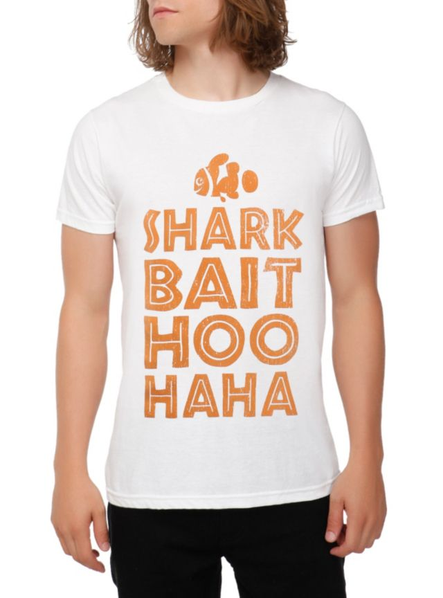 """White T-shirt from Disney's Finding Nemo with a """"""""Shark Bait Hoo Haha"""""""" text design on front."""