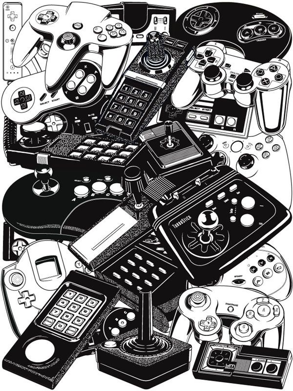 Vide game console controllers. Nintendo, Sega, PlayStation, Microsoft, NES, SNES, N64, Dreamcast, Gamecube, Atari, Commodore, PS2, Genesis, Xbox, 360