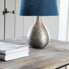 Contemporary table lamp with a classical blue canvas shade // Gaya - Sessak