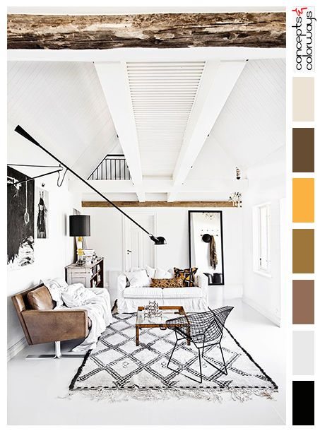 White Interior Color Palette With Colorful Accents