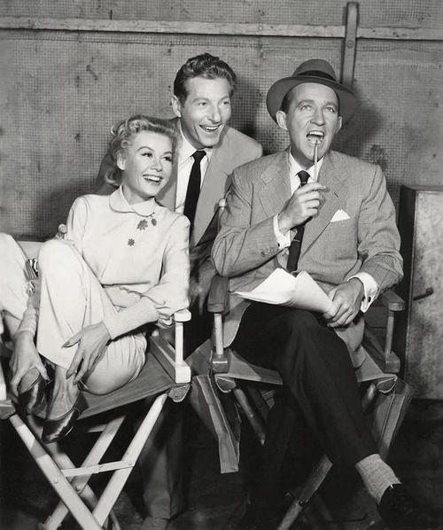 "Vera-Ellen, Danny Kaye, and Bing Crosby on the set of ""White Christmas"""