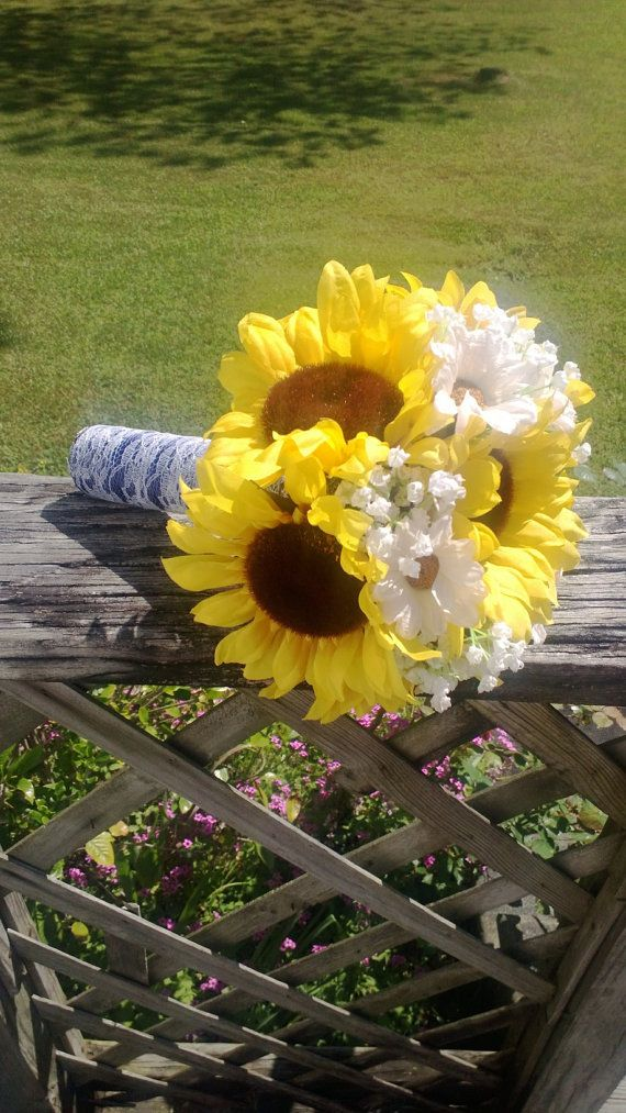 14 piece sunflower bouquet wedding flower set bridal bouquet sunflower daisy bouquet lace bouquet sunflower wedding bouquet rustic wedding