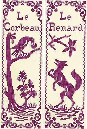 Grille pt de croix 2 MARQUE-PAGE - Le CORBEAU & le RENARD - réf : 6504-3