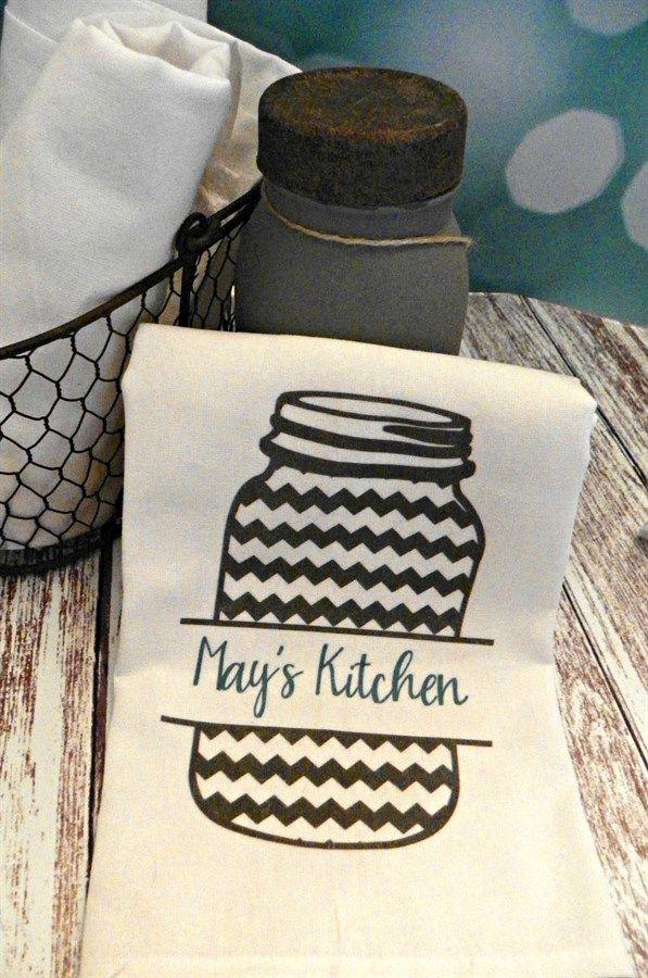 Personalized Mason Jar Flour Sack Towels {Jane Deals}