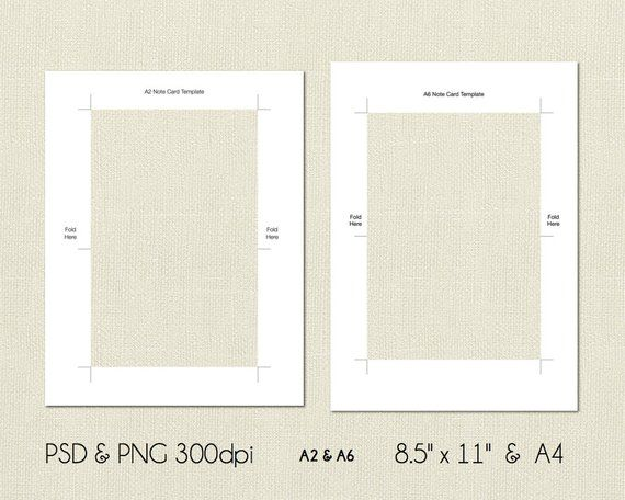 A2 And A6 Folded Note Card Printable Template 4 25x5 5 Etsy Note Card Template Card Template Folded Note Card