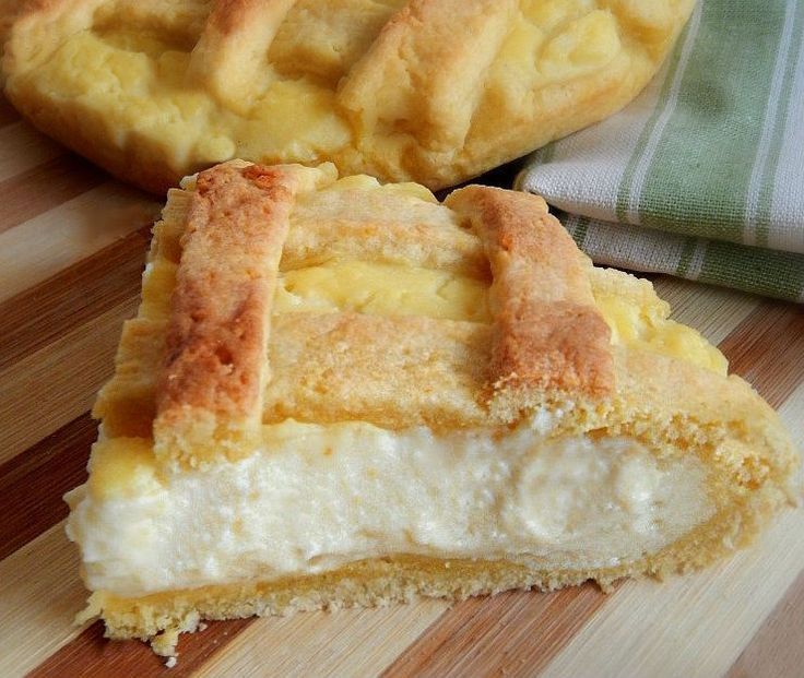 Crostata con crema pasticcera e ricotta, ricetta dolce ~ Tart with pastry cream and cottage cheese, dessert recipe