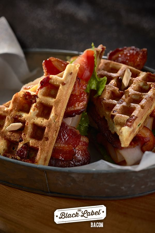 Pecanwood Black Label® Bacon and Chicken Waffle Dinner for the win. | Extreme bacon breakfast recipes. | Black Label® Bacon