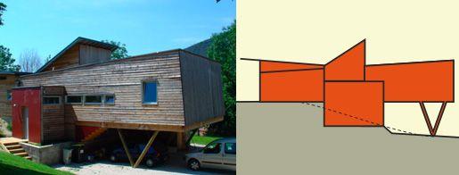 14 best maison sur la pente images on pinterest house for Habiter container