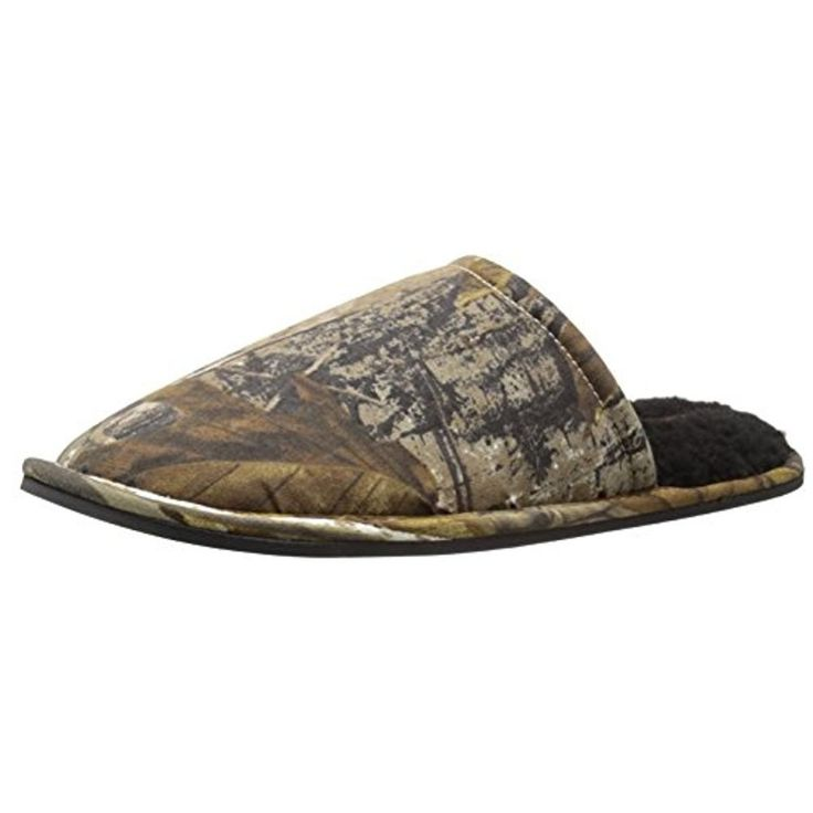 Wembley Mens Real Tree Scruff Slipper Camouflage Lined Mule Slippers