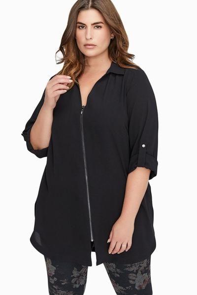 Black Plus Size Zip Down Chiffon Blouse 11