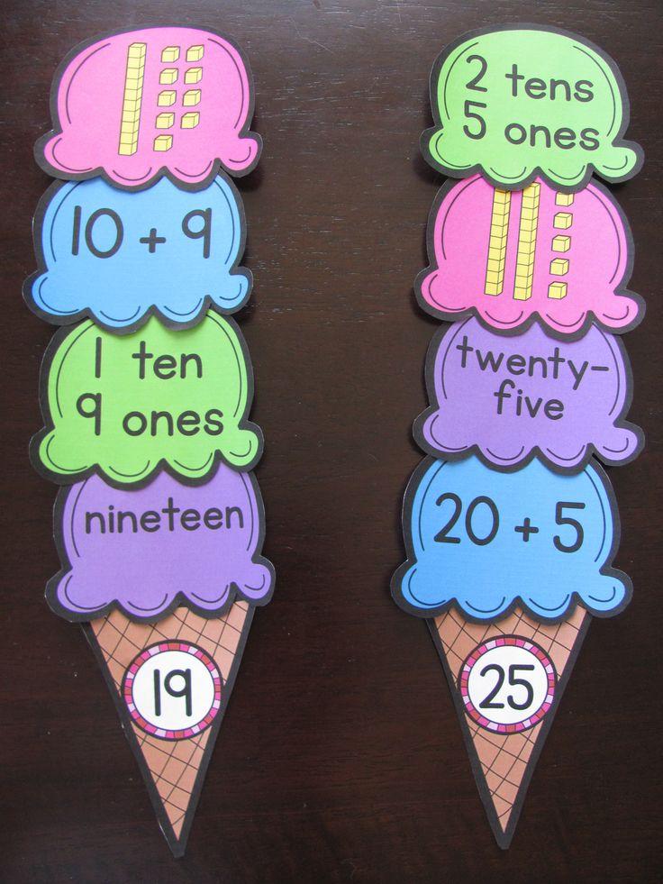 Place Value ice cream cones ~ cute center idea