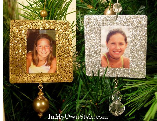 Everyone likes to see themselves on the tree.  Make these ornaments with slide mounts or cardboard - Glittered Photo ornaments: