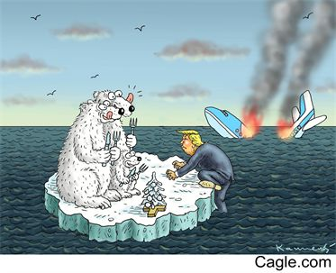 This is satire because it's showing a picture of Donald trump about to get eaten by bears