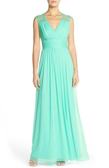 Alfred Sung Shirred ChiffonCap Sleeve Gown available at #Nordstrom
