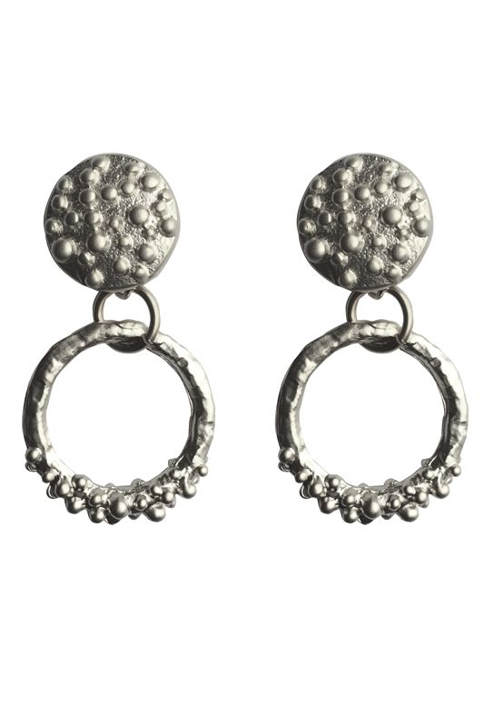 BUMPY ROUND STUDS- A$48.00 Matte silver/gold plated earrings with sterling silver hooks Dimensions: approx 15mm x 27mm