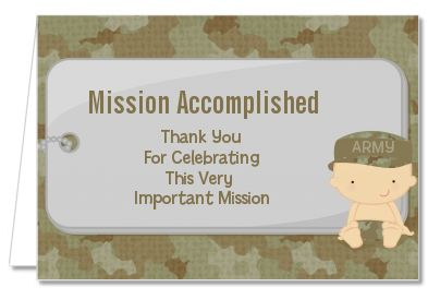 Camo Military - Baby Shower Thank You Cards. Available in Caucasian, African American, Hispanic and Asian Ethnicities.