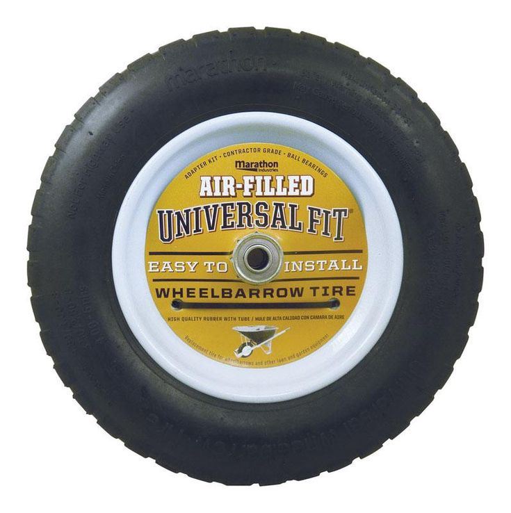 "Marathon 20265 Universal Fit Air-Filled Wheelbarrow Tire, 14.5"" Diameter"