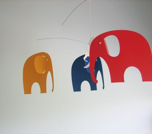 kids room. elephant mobile: flensted. camp cirrus at home.