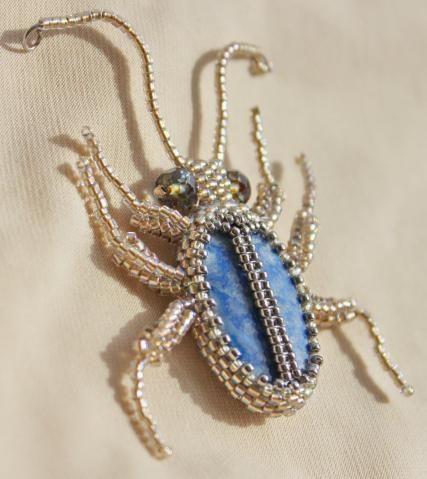 жучок Серафим by mad ina. blue and silver bug brooch.