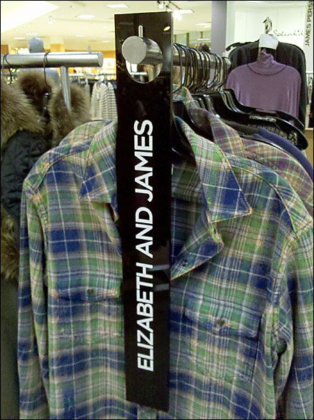 Elizabeth & James® Door Hanger as End-Rack Sign.Simple. Smart. Inexpensive. #BrandKnowHow #PointOfSale