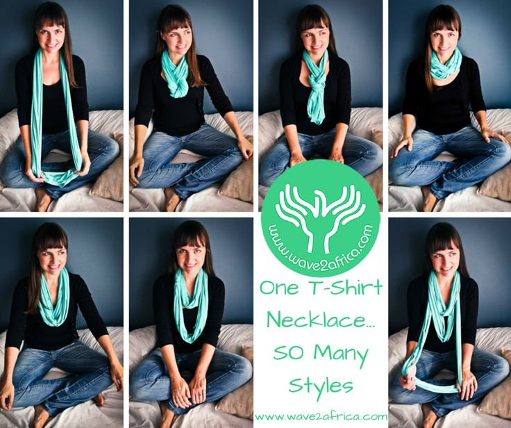 One T-Shirt Necklace / Scarf that can be worn in so many styles! Available in different colors, patterns and fabrics. Buy now & Get creative! Shop @ www.wave2africa.com