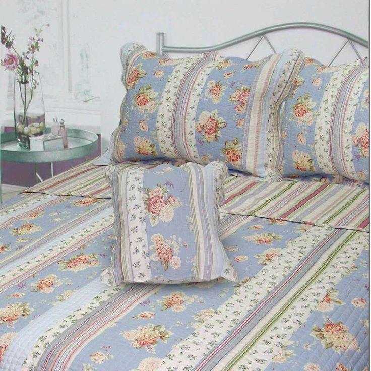 J&J Bedding Berkely Floral Stripe Quilt Collection