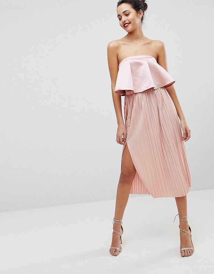 ASOS Midi Pleated Skirt with Side Button Detail #skirt #pleated #asos #womensfashion #spring #2018