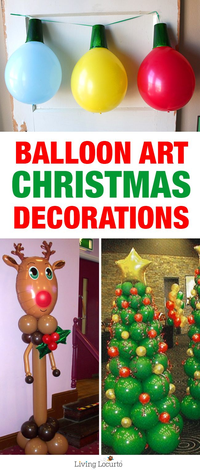 Creative ideas for Christmas Balloon Art. Fun DIY Holiday Decorations that turn your home or party into a festive winter wonderland! LivingLocurto.com