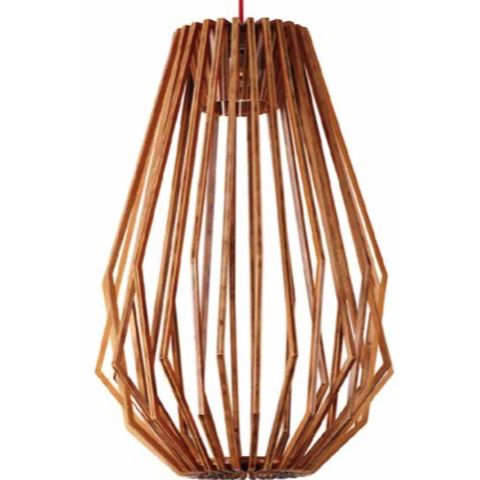 Geometric Long Ash Wood Pendant Light