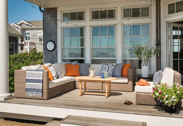 Patio Furniture Ideas.  Outdoor sofa sectional is the Kingsley Bate Sag Harbor Sectional. #PatioFurniture #patio Kate Jackson Design