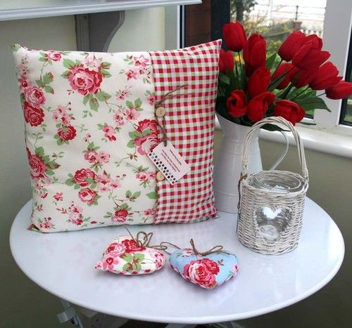 SHABBY CHIC CUSHION COVER IN CATH KIDSTON IKEA ROSALI COTTON FABRIC BLUE WHITE