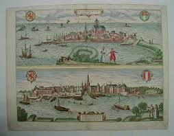 "Rotterdam Landie - Govde  Copper etching rom the atlas ""Civitates Orbis Terrarum"" by Braun and Hogenberg published in Cologne ca. 1580. Original hand coloring Size :Upper image: 18.9 x 47.3 cm ( 7.4 x 18.6 "") Lower image: 17.5 x 48.3 cm ( 6.8 x 19 "")"
