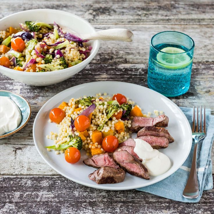Lamb with Roast Veggie and Pearl Couscous and Tahini Yoghurt